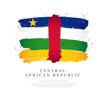 Flag of the Central African Republic. Vector illustration on a white background. Brush strokes are drawn by hand. Independence Day. Stock Illustratie