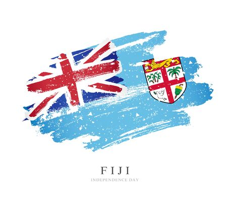 Fiji flag. Vector illustration on a white background. Brush strokes are drawn by hand. Independence Day.