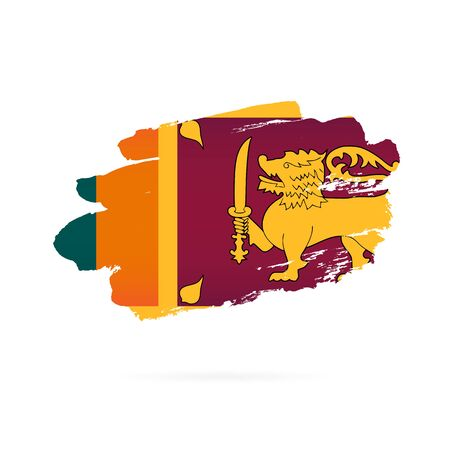 Flag of Sri Lanka. Vector illustration on a white background. Brush strokes are drawn by hand.