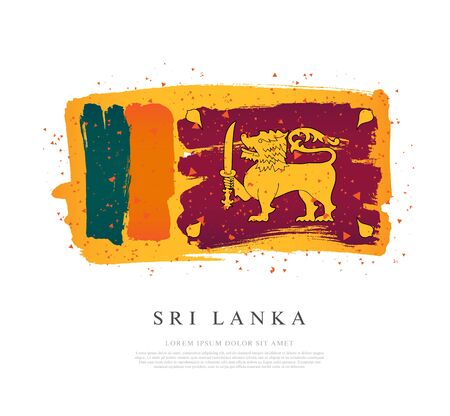 Flag of Sri Lanka. Vector illustration on a white background. Brush strokes are drawn by hand. Independence Day. Banque d'images - 131027578