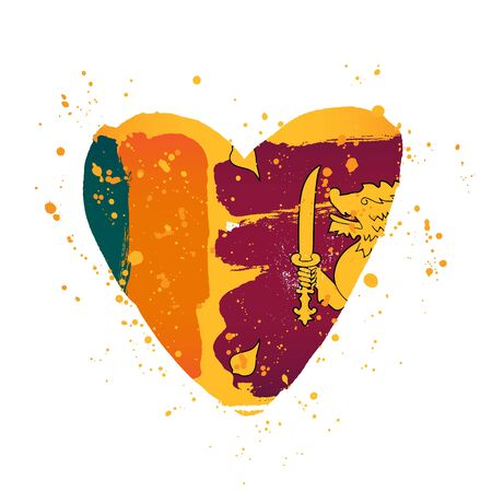 Sri Lanka flag in the form of a big heart. Vector illustration on a white background. Brush strokes are drawn by hand. Independence Day.