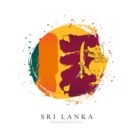 Sri Lanka flag in the shape of a big circle. Vector illustration on a white background. Brush strokes are drawn by hand. Independence Day.