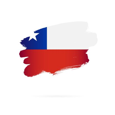 Chile flag. Vector illustration on a white background. Brush strokes are drawn by hand. Stock Illustratie