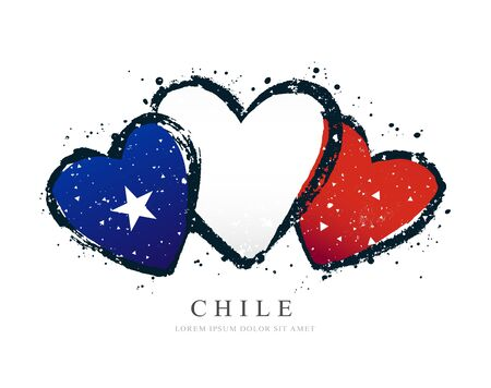 Chilean flag in the form of three hearts. Vector illustration on a white background. Brush strokes are drawn by hand. Chilean Independence Day.
