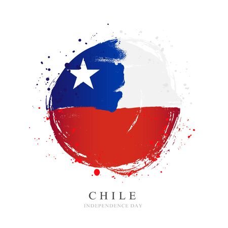 Chile flag in the shape of a big circle. Vector illustration on a white background. Brush strokes are drawn by hand. Independence Day.