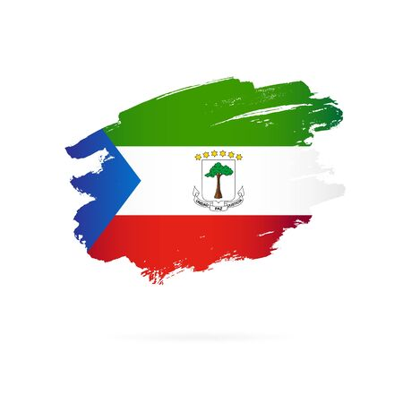 Flag of Equatorial Guinea. Vector illustration on a white background. Brush strokes are drawn by hand. Stock Illustratie