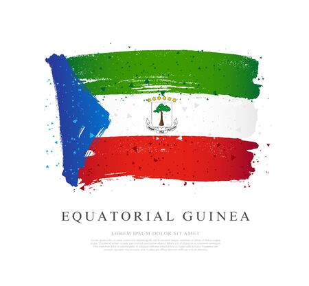 Flag of Equatorial Guinea. Vector illustration on a white background. Brush strokes are drawn by hand. Independence Day. Illustration