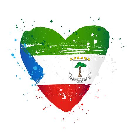 Flag of Equatorial Guinea in the form of a big heart. Vector illustration on a white background. Brush strokes are drawn by hand. Independence Day.