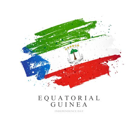 Flag of Equatorial Guinea. Vector illustration on a white background. Brush strokes are drawn by hand. Independence Day. Stock Illustratie