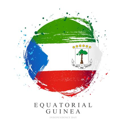Flag of Equatorial Guinea in the shape of a large circle. Vector illustration on a white background. Brush strokes are drawn by hand. Independence Day.