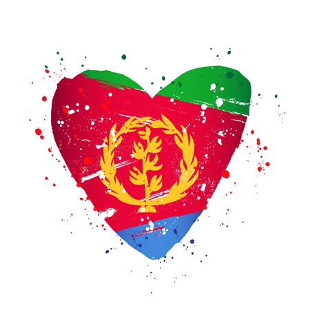 Flag of Eritrea in the form of a big heart. Vector illustration on a white background. Brush strokes are drawn by hand. Independence Day.
