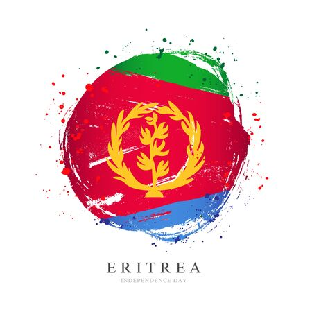 Eritrea flag in the shape of a big circle. Vector illustration on a white background. Brush strokes are drawn by hand. Independence Day.