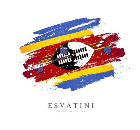 Esvaniti flag. Vector illustration on a white background. Brush strokes are drawn by hand. Independence Day. Stock Illustratie