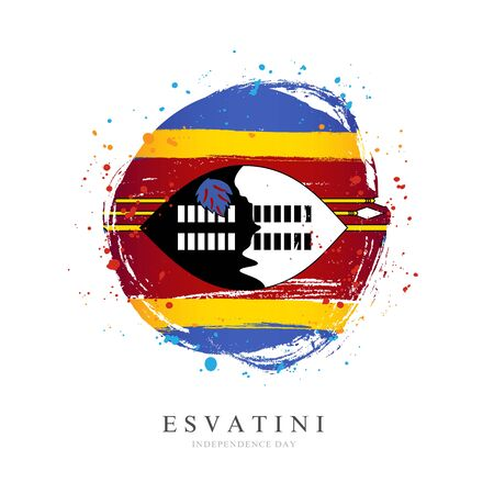 Eswaniti flag in the shape of a big circle. Vector illustration on a white background. Brush strokes are drawn by hand. Independence Day.