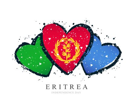 Flag of Eritrea in the form of three hearts. Vector illustration on a white background. Brush strokes are drawn by hand. Independence Day. Banque d'images - 131027594