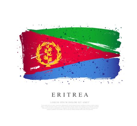 Flag of Eritrea. Vector illustration on a white background. Brush strokes are drawn by hand. Independence Day.