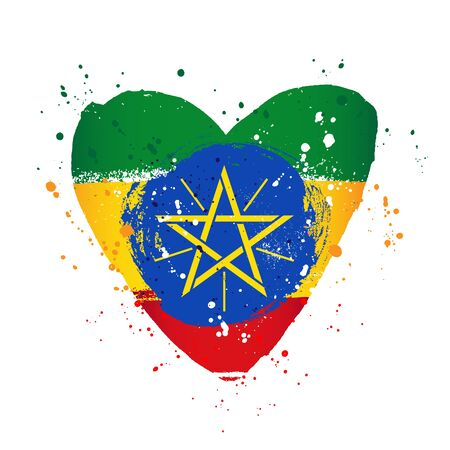 Ethiopian flag in the form of a big heart. Vector illustration on a white background. Brush strokes are drawn by hand. Ethiopia Independence Day. Illustration