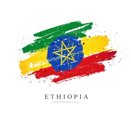 Ethiopia flag in the shape of a big circle. Vector illustration on a white background. Brush strokes are drawn by hand. Independence Day.