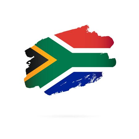 Flag of South Africa. Vector illustration on a white background. Brush strokes are drawn by hand. Illustration