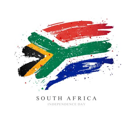 Flag of South Africa. Vector illustration on a white background. Brush strokes are drawn by hand. Independence Day.