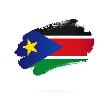 Flag of South Sudan. Vector illustration on a white background. Brush strokes are drawn by hand. Stock Illustratie