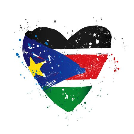 Flag of South Sudan in the form of a big heart. Vector illustration on a white background. Brush strokes are drawn by hand. Independence Day.
