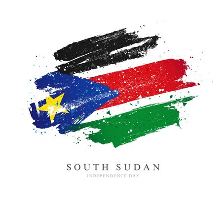 Flag of South Sudan. Vector illustration on a white background. Brush strokes are drawn by hand. Independence Day.