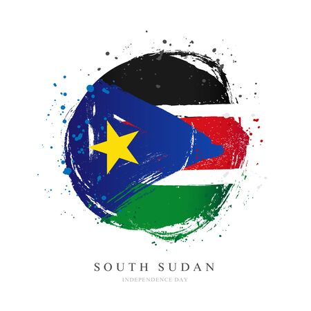 Flag of South Sudan in the shape of a large circle. Vector illustration on a white background. Brush strokes are drawn by hand. Independence Day. Stock Illustratie