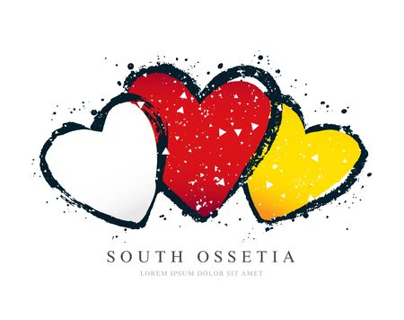 South Ossetia flag in the form of three hearts. Vector illustration on a white background. Brush strokes are drawn by hand. Independence Day.