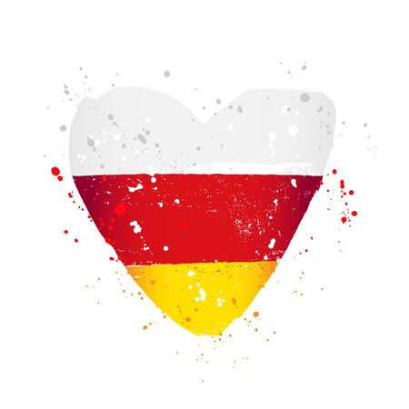 South Ossetia flag in the form of a big heart. Vector illustration on a white background. Brush strokes are drawn by hand. Independence Day.