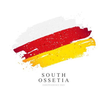 Flag of South Ossetia. Vector illustration on a white background. Brush strokes are drawn by hand. Independence Day.