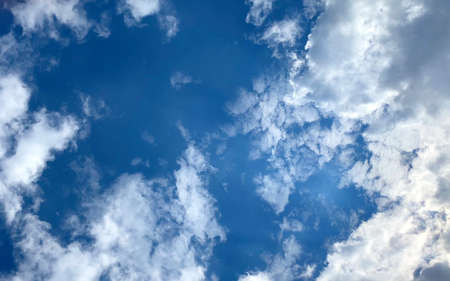 Beautiful blue sky with white clouds. Calm natural relax background.