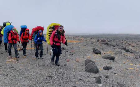 KAMCHATKA PENINSULA, RUSSIA - SEPTEMBER 10, 2020: A group of tourists with backpacks and trekking poles walks along the burnt ground of central Kamchatka. Mountain climbing. Trekking in the Klyuchevskoy volcano park.