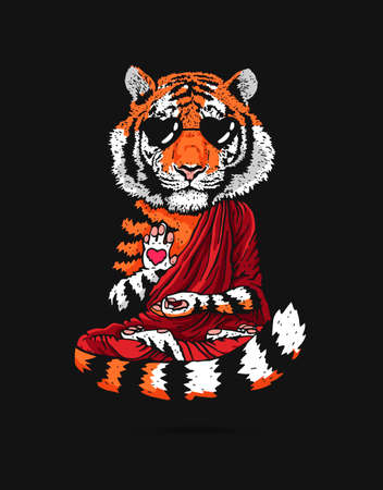 Tiger - Buddha - a monk in sunglasses. Buddhist in a burgundy robe. A tiger in a lotus position soars above the ground. Vector illustration on a black background. Horse drawing. The symbol of the new 2022. Illustration