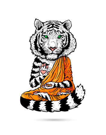 White Tiger - Buddha - Monk. Buddhist in an orange robe. A tiger in a lotus position soars above the ground. Vector illustration isolated on white background. Horse drawing. The symbol of the new 2022.