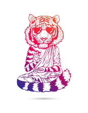Tiger - Buddha - a monk in cool sunglasses. Buddhist in a robe. A tiger in a lotus position soars above the ground. Vector illustration isolated on white background. Horse drawing. The symbol of the new 2022.