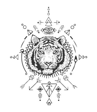 Tiger head. Sacred geometry. Detailed drawing of a tiger. Vector illustration isolated on white background. The symbol of the new year 2022. T-shirt print.