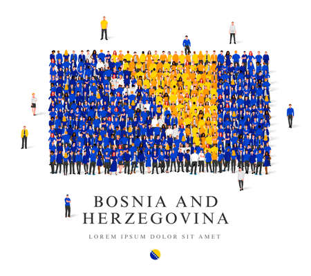 A large group of people are standing in white, blue and yellow robes, symbolizing the flag of Bosnia and Herzegovina. Vector illustration isolated on white background. Bosnia and Herzegovina flag made of people.