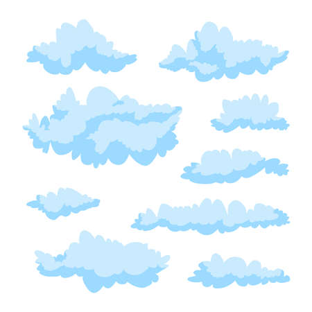 Blue beautiful fluffy curly clouds on a white background. Vector illustration. A set of cute clouds.