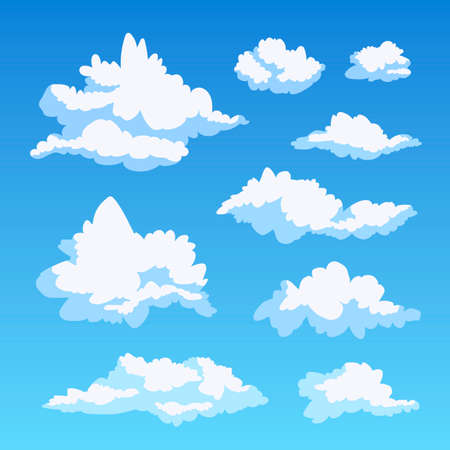 White beautiful fluffy curly clouds against the blue sky. Vector illustration. A set of cute clouds.