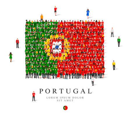 A large group of people are standing in green, yellow, white and red robes, symbolizing the flag of Portugal. Vector illustration isolated on white background. Italy flag made from people. Illusztráció