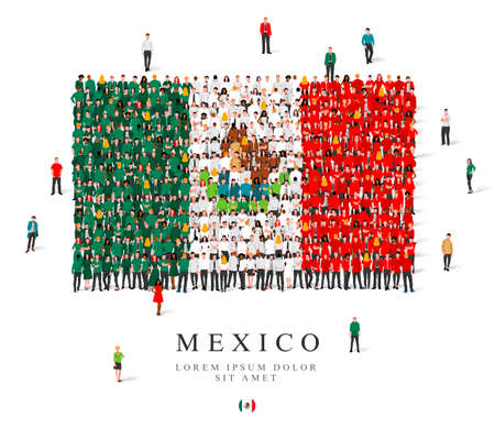 A large group of people are standing in green, white and red robes, symbolizing the flag of Mexico. Vector illustration isolated on white background. Mexico flag made from people.