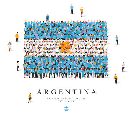 A large group of people are standing in blue, white and yellow robes, symbolizing the flag of Argentina. Vector illustration isolated on white background. Argentina flag made from people.