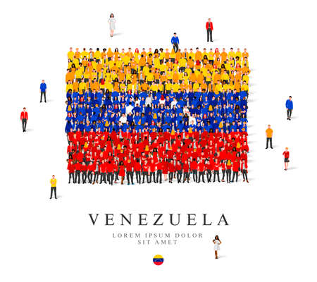 A large group of people are standing in yellow, blue, white and red robes, symbolizing the flag of Venezuela. Vector illustration isolated on white background. Venezuela flag made from people.