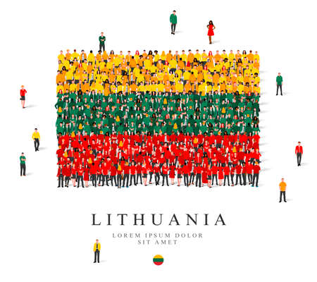 A large group of people are standing in yellow, green and red robes, symbolizing the flag of Lithuania. Vector illustration isolated on white background. Lithuania flag made from people. Illusztráció