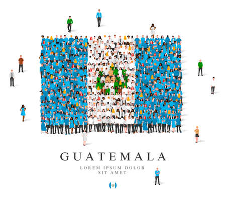 A large group of people are standing in blue, green and white robes, symbolizing the flag of Guatemala. Vector illustration isolated on white background. Guatemala flag made from people.