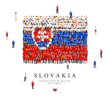 A large group of people are standing in blue, white and red robes, symbolizing the flag of Slovakia. Vector illustration isolated on white background. Slovakia flag made from people. Illusztráció