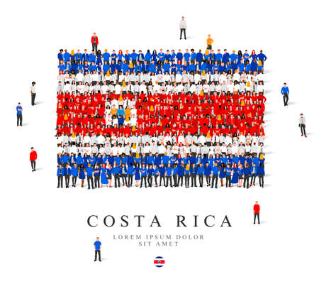 A large group of people are standing in blue, white and red robes, symbolizing the flag of Costa Rica. Vector illustration isolated on white background. Costa Rica flag made from people. Illusztráció