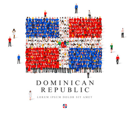 A large group of people are standing in blue, white and red robes, symbolizing the flag of the Dominican Republic. Vector illustration isolated on white background. Dominican Republic flag made of people.