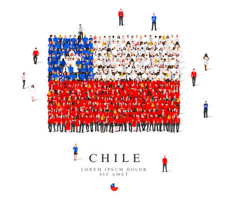 A large group of people are standing in blue, white and red robes, symbolizing the flag of Chile. Vector illustration isolated on white background. Chile flag made of people.